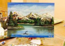 """В горах"", холст, масло. Картина с МК по маслу с нуля для детей от 7 лет. Студия рисования ""Краски"", Тула"