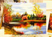 """""""Золотая осень"""", холст, масло. Картина с индивидуального МК по маслу с нуля"""