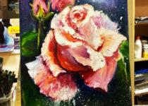 """Розы"", холст. масло, мастихин. Картина с МК по маслу с нуля. Студия рисования ""Краски"", Тула"