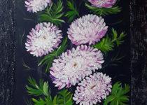 Картина Светланы. Хризантемы, холст, акрил, текстурная паста для декора.