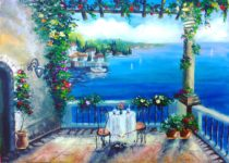Картина маслом для новичков. Море, терасса, средиземноморский пейзаж