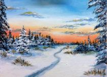 """""""Зимний лес"""", холст, масло. Картина с МК по маслу с нуля"""