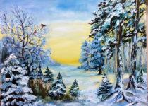 Картина маслом за 4 часа. Зимний лес. Сложность: дети от 8 лет