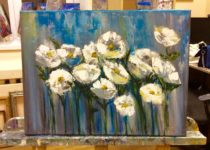 """""""Белые Цветы"""", холст, акрил. Картина с МК по интерьерным картинам с нуля"""