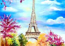 """""""Весна в Париже"""", холст, масло (по мотивам творчества Е. Шкаевой)"""