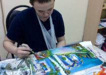 Творческий процесс. Кирилл пишет картину в технике объёмной живописи мастихином