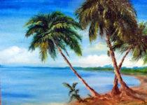 """""""Пальмы"""", правополушарное рисование, холст, масло"""