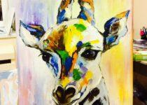 """""""Жираф"""". Картина с МК по маслу с нуля для детей от 8-ми лет"""