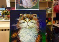 """""""Кот"""", масло + акрил. Картина с МК по маслу с нуля для детей от 8 лет и взрослых"""