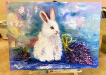 """""""Белый Кролик"""". Картина с МК по маслу с нуля для детей от 8 лет"""