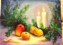 """Натюрморт маслом, картина со свечами, новогодний, с Рождеством. Студия рисования """"Краски"""" Тула"""