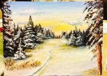 """""""Зимний лес"""" картина маслом для начинающих. Студия рисования """"Краски"""", Тула"""