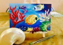 """""""Подводный мир"""", холст, масло. Картина с МК по маслу с нуля для детей 5-6 лет. Студия рисования """"Краски"""", Тула"""
