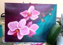 """""""Орхидея"""", картина с МК по маслу с нуля для детей от 7 лет"""