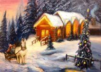 """Волшебная зима"", холст, масло (по мотивам работ Т. Кинкейда)"
