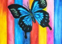 «Бабочка», картина с детского  МК по маслу с нуля
